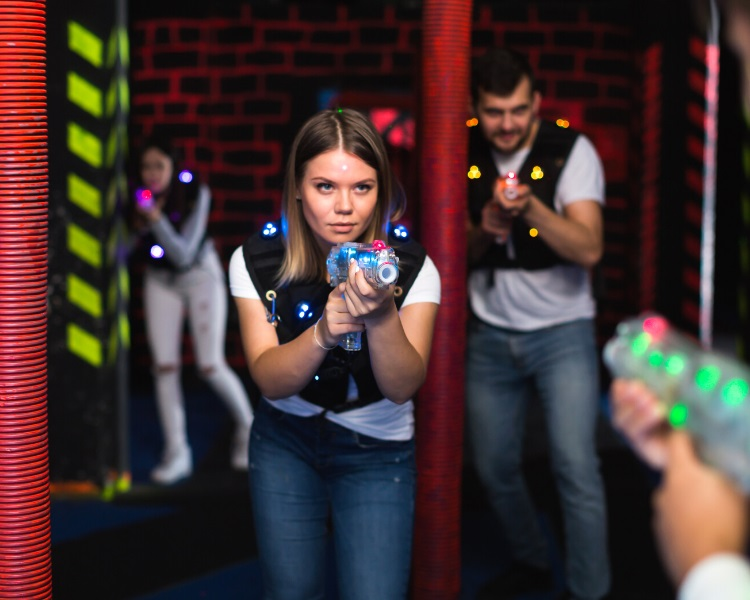 Home laser tag in action